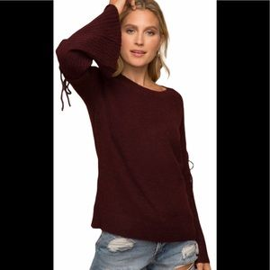 Lace Up Shoulder Bell Sleeved Sweater Sz S-M-L